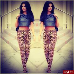 Love this top paired with these leopard high waited pants.