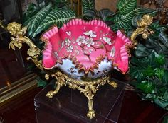 Brides Basket:Art Glass Bowl Enameled Cherry Blossoms & Dore Bronze Cupid Basket