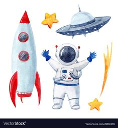 Beautiful vector set with watercolor space elements rocket space ship astronaut … – Courtney Berry - Valentines Astronaut Drawing, Astronaut Illustration, Space Illustration, Watercolor Illustration, Clipart, Drawing For Kids, Art For Kids, Watercolor Wallpaper, Watercolor Art