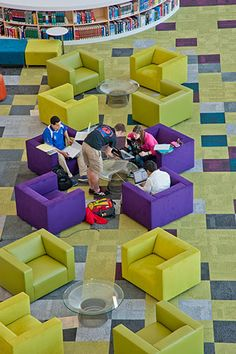 Color, color color! James B. Hunt Library at NC State University features Milliken's Paste Up Collection. Designed by PBC + L. #flooring #floorcovering #interiordesign #educationdesign