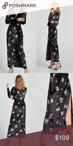 640d1b1ecdd NWOT Zara Velvet Floral Kimono Wrap Dress Condition  NWOT Size  Large Color   Black