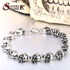 Stainless steel new design men punk skull chain bracelet men fashion stainless steel charm bracelet jewelry www.bernysjewels.com #bernysjewels #jewels #jewelry #nice #bags