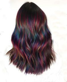 Long Black Hair, Black Curly Hair, Hair Color For Black Hair, Cool Hair Color, Short Hair, Rainbow Hair Highlights, Black Hair With Highlights, Hair Color Highlights, Chunky Highlights