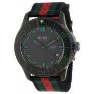 Gucci Men's G-Timeless Dive Black Dial Nylon Strap Watch, Gucci Watches For Men, Gucci Men, Cool Watches, Black Stainless Steel, Stainless Steel Watch, Mens Watch Brands, Black Nylons, Casio Watch, Chronograph