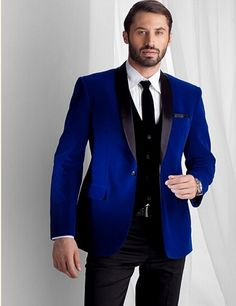==> [Free Shipping] Buy Best Groomsmen Shawl Lapel Groom Tuxedos Royal Blue Velvet Jacket Men Suits Wedding Best Man Blazer (JacketPantsTieVest) B986 Online with LOWEST Price | 32674674089