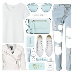 """Aqua White"" by monmondefou ❤ liked on Polyvore featuring Barbour International, Lirikos, Christian Dior, Converse, Kate Spade, Miss Selfridge, Maria Francesca Pepe and philosophy"