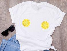 Lemon Boob T-shirt, Cute lemons shirt, summer t-shirt, Lemon Slice Breast Boobs Tee, Free the Nipple Lemon Shirt, Tumblr T Shirt, Summer Tshirts, Funny Tees, Cute Tops, Printed Shirts, T Shirts For Women, Fashion Top, Clothes