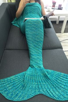 $21.47 Bedroom Decor Hollow Out Crochet Knit Mermaid Blanket