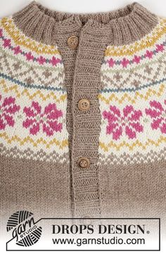 Knitted DROPS jacket with round yoke and Norwegian pattern in Lima. Free pattern by DROPS Design. Baby Cardigan Knitting Pattern Free, Fair Isle Knitting Patterns, Christmas Knitting Patterns, Sweater Knitting Patterns, Drops Design, Knitting For Kids, Free Knitting, Fair Isles, Jacket Pattern