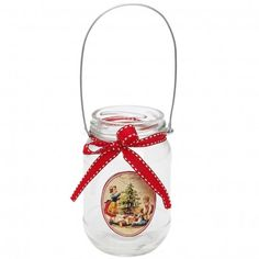 Traditional Christmas Hanging Jam Jar T-light Holder