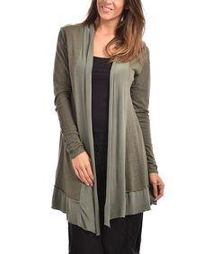 This Khaki Jamila Linen-Blend Open Cardigan - Plus Too is perfect! #zulilyfinds