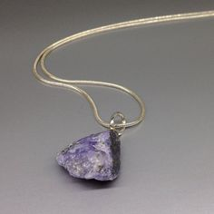 Stunning violet blue Tanzanite raw stone rock pendant with Sterling silver - Mother's day gift idea