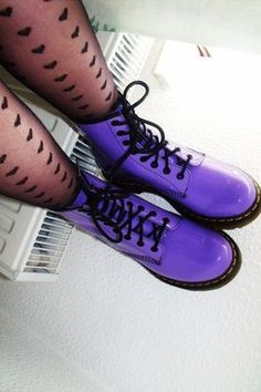 Purple Doc Martens - ooh, they look a different purple to my DMs. Must look out for these! Sock Shoes, Cute Shoes, Me Too Shoes, Shoe Boots, Dress Boots, Neo Grunge, Soft Grunge, Dream Shoes, Crazy Shoes