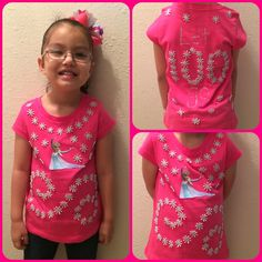 Diy 100 days of school - frozen shirt. Write letting go of 100 days School Spirit Days, 100 Days Of School, 100 Day Of School Project, School Projects, School Ideas, Diy For Girls, Shirts For Girls, 100 Day Shirt Ideas, 100 Day Celebration