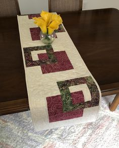 Quilted Tablerunner, Cream Wine & Green Modern Batik Table Runner, Handmade Reversible Table Quilt, Contemporary Marsala Green Dining Decor by FabriArts on Etsy Invisible Stitch, Place Mats Quilted, Christmas Wall Art, Dining Decor, Quilted Table Runners, Quilted Wall Hangings, Mug Rugs, Table Toppers, Merry And Bright