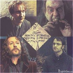 David Thewlis as Remus Lupin (Moony), Timothy Spall as Peter Pettigrew (Wormtail), Gary Oldman as Sirius Black (Padfoot) and Adrian Rawlins as James Potter (Prongs).