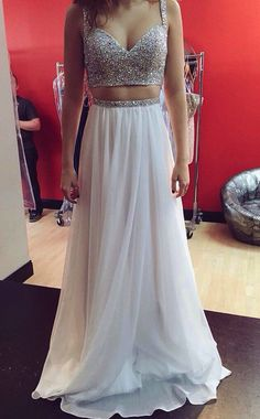 Two Piece Prom Dresses, Glitter Prom Dress