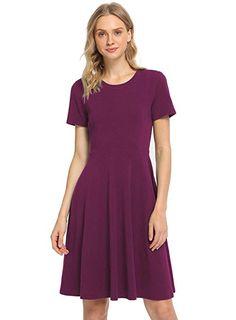 830d12f9e37 Pintage Women s Short Sleeves Crew Neck Knee Length Skater Dress 2X Plum at Amazon  Women s Clothing store