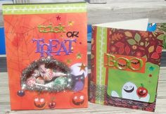 Treat bag and Halloween card. For the stickers I used Halloween puffy phrases by Momenta.  Item # ST-2173.  The star are by Momenta called mini bubble & bling stickers.   Item #ST-3501.  The paper is from the Super Paper Pad ATTY Item # PA-1991.  This paper pad is amazing it has every Holiday and Ocassion all in one pad!! I fussy cut the pumpkins, owl, and moon. To add a little more Fall I used the leaves for my background on the card! Halloween Cards, Treat Bags, Gift Packaging, Scrapbook Layouts, Pumpkins, Best Gifts, Bubbles, Owl, Leaves