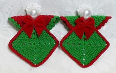 Hand Crocheted Granny Square Angels: no pattern found, but easy enough to whip up without one!  CUTE!