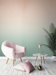 Gorgeous Ombre Wallpaper | Green and Pink Inspiration | Light Pink Accent Chair | Wood Paneled Flooring