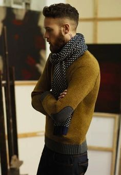 Mustard sweater with suede elbow patches