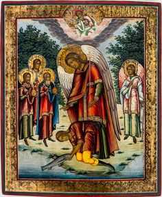 Erzengel Raphael und Tobias Russische Ikone / Russian icon 2. Hälfte 19. Jh. / 2nd half 19th c. 35 x 29 cm