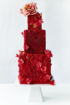 All Red wedding cake