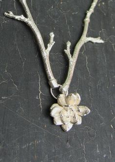 Branch & Rosette Sterling Silver Necklace
