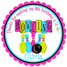 Bowling Stickers Bowling Birthday Party by LittlebeaneBoutique Bowling Invitations, Birthday Invitations, Invitations Kids, Personalized Stickers, Personalized Invitations, 10th Birthday Parties, Birthday Bash, Bowling Party, Favors