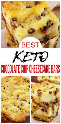 Keto Cheesecake – BEST Low Carb Keto Chocolate Chip Cheesecake Bars – Easy – Snacks – Desserts – Keto Friendly & Beginner - Keto Recipes and Ideas - {Keto Desserts Recipe} Easy simple chocolate chip cheesecake bars. Low carb desserts you will love - Chocolate Chip Cheesecake Bars, Keto Chocolate Chips, Low Carb Cheesecake, Cheesecake Recipes, Chocolate Desserts, Cheesecake Bites, Cheesecake Cookies, Keto Cookies, Cookies Et Biscuits