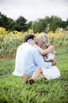 Sunflower Farm Engagement Session by Buffy Dekmar Photography | Style Me Pretty