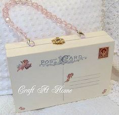 Cigar Box Purse - painted, stamped, beaded handle