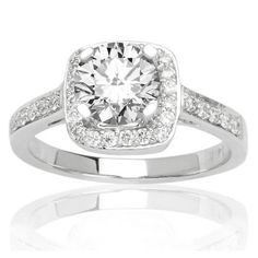 Amazon.com: Pave Set Round Diamond Engagement Ring with a 0.5 Carat F-G I1 Center Stone and 0.35 Carats of Side Diamonds (0.85 Cttw): Jewelry
