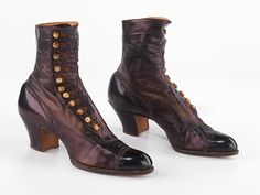 Boots, Department Store: Frederick Loeser & Company (American, founded Date: ca. Vintage Boots, Vintage Outfits, Vintage Fashion, 1918 Fashion, Fashion History, Art Boots, Shoe Boots, Edwardian Shoes, Edwardian Era