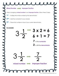 Fractions Review Sheet II -GCF, LCM, LCD, Mixed Numbers, Equivalent and Improper Fractions Study Guide - The Teacher Treasury