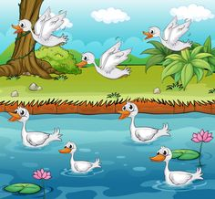Discover thousands of copyright-free vectors. Graphic resources for personal and commercial use. Thousands of new files uploaded daily. Duck Drawing, Drawing For Kids, Art For Kids, Happy Animals, Funny Animals, Funny Duck, Baby Ducks, Vector Photo, Stories For Kids