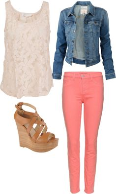 30 Outfits to Upgrade Your Spring Styles Denim Jacket and Pink Pants I'd have to wear different shoes 60 Great Spring Outfit IdCute n' casual dressGet Inspired by Hundreds 30 Outfits, Mode Outfits, Spring Outfits, Casual Outfits, Look Fashion, Spring Fashion, Womens Fashion, Fashion Clothes, 90s Fashion