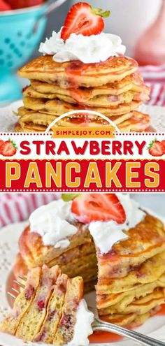 The perfect addition to holiday brunch! These fluffy pancakes are bursting with fresh strawberries in every bite. What's more, this quick and easy recipe is great to make ahead and freeze for a busy weekday breakfast! Fluffy Pancakes, Pancakes And Waffles, Strawberry Pancakes, Strawberry Recipes, Quick Easy Meals, Brunch Recipes, Freeze, Strawberries, Breakfast