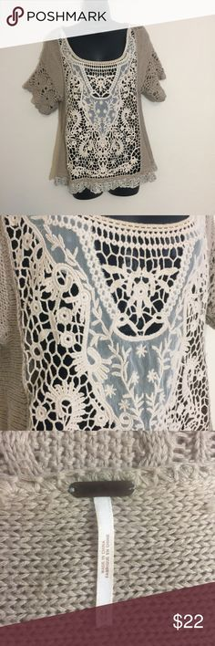 Free People lace sweater top Gorgeous sweater blouse by free people. See through lace front. No flaws. Size extra small. Light brown color. Oversized sweater. Free People Tops Blouses