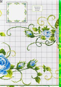 Plave ruže na stolnjaku.