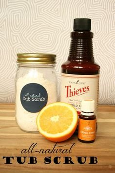 DIY Tub Scrub using Thieves Household cleaner and citrus fresh essential oil