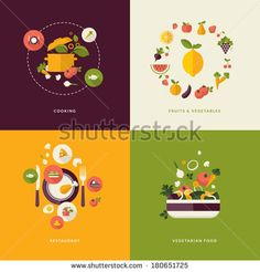 Set of flat design concept icons for food and restaurant. Icons for cooking, fruits and vegetables, restaurant and vegetarian food. - stock vector