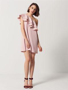 Sukienka na jedno ramię z falbanami, MOHITO, RT837-33X