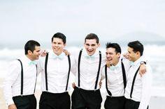 Blue bow ties & suspenders for the groomsmen