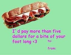 five dollar footlong valentines card Valentine Day Cards, Happy Valentines Day, Valentine Gifts, Gold Rings, Subway Sandwich, Twitter, Funny Shit, Funny Things, Pop Culture