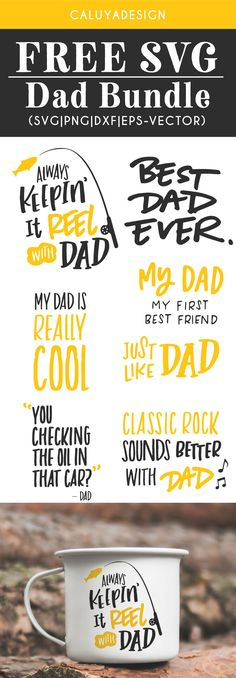 Free Dad Quote Bundle SVG, PNG, EPS & EPS & DXF by Caluya Design. Compatible with Cameo Silhouette, Cricut and other major cutting machines!Perfect for your DIY projects, Giveaway and personalized gift. Perfect for Planner customization! Cricut Vinyl, Svg Files For Cricut, Vinyl Decals, Cricut Fonts, Crafts For Teens To Make, Diy And Crafts, Easy Crafts, Planner Stickers, Free Printable Clip Art
