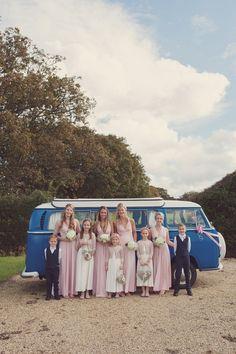 Wedding Vintage Campervan and quirky Bridesmaids,October Wedding, Autumn Wedding, Laughton Barns, Sussex, UK, Rebecca Douglas Photography
