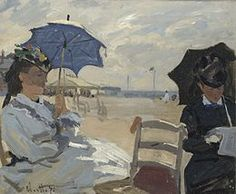 The Beach at Trouville Claude Monet Oil on canvas. The National Gallery, London. The figure to the left is probably Monet's wife Camille, and the woman reading may be the. Edouard Manet, Pierre Auguste Renoir, Claude Monet, Monet Paintings, Impressionist Paintings, Acrylic Paintings, Painting Prints, Canvas Prints, Canvas Art
