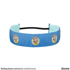 Smiling hyena cartoon athletic headbands